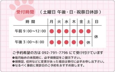 診察券デザイン 動物02-ピンク裏