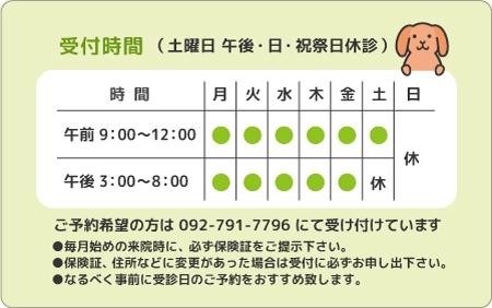 診察券デザイン 動物03-黄緑裏